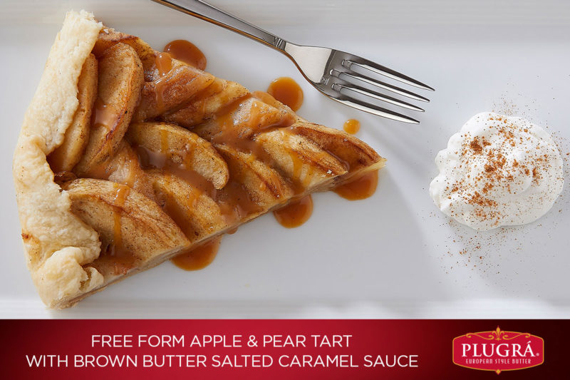 Filled with flavorful goodness from delicious baked apples and pears, this tart uses the richness from Plugrá® European Style Butter to please any palate. And with its decadent drizzle of brown butter salted caramel sauce over top, you'll find yourself quickly falling in love.