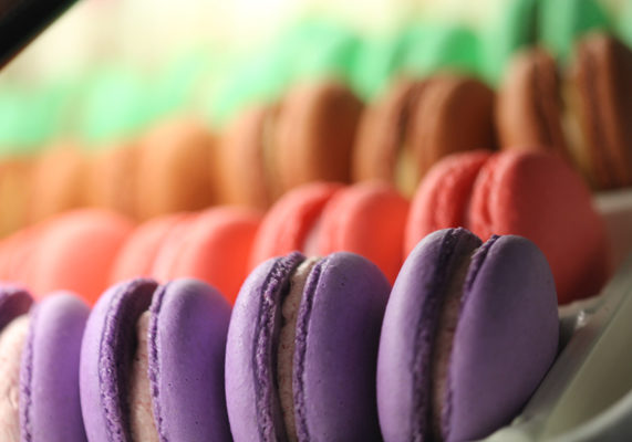 Amy's Pastry in Southern California specializes in colorful macarons made using the Italian meringue method, so the outer shells are chewy and not crunchy.