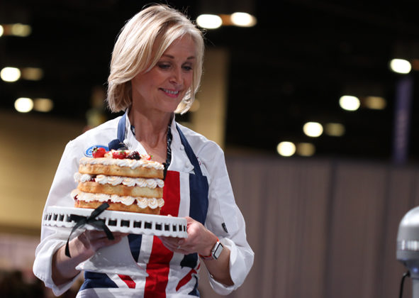 "The Americas Cake Fair, sponsored by Satin Ice, proved a tremendous stage for the world's leading cake artists including Mich Turner, ""baker to the Queen of England."""