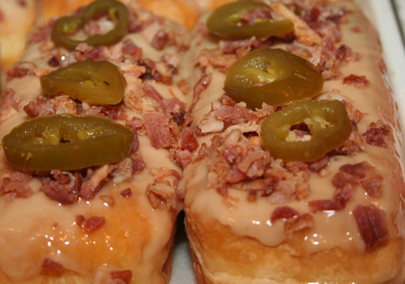 """Extreme donuts are all the rage with consumers nowadays, so spice up your donut flavors by featuring """"hot"""" specials like jalapeño with bacon."""