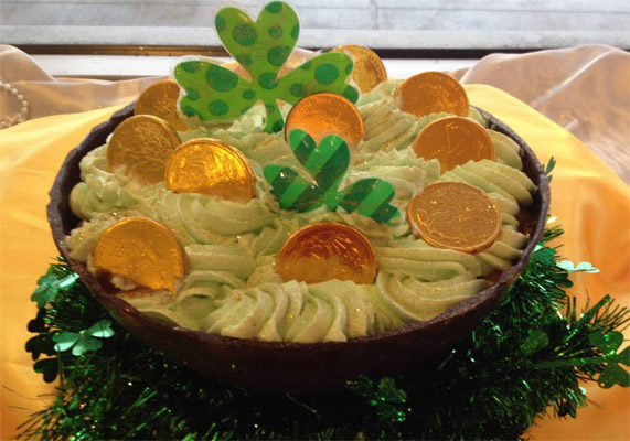 "At Jarosch Bakery in Elk Grove, Illinois the St. Pat's ""Choc-O-Luck"" Mousse Bowl is a popular item during St. Patrick's Day. The eight ounce chocolate bowl is filled with chocolate mousse and topped with whipped cream and gold foil chocolate coins. The bakery recommends pairing it with fruit, cake or simply devouring it. Picture courtesy of Jarosch Bakery"