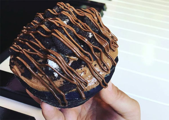 The latest offering from Confections of a Rock$tar is a fluffy chocolate bun dough frosted with a thick layer of creamy Nutella and topped off with Oreo crumbs. All images courtesy of Confections of a Rock$tar