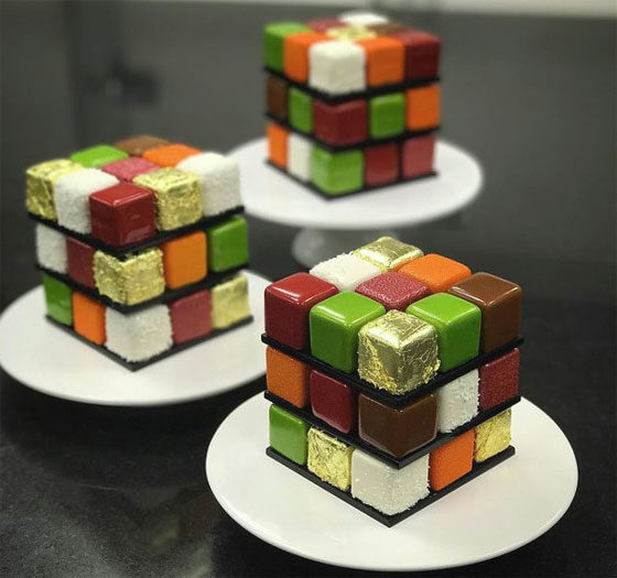These tributes to the classic 1970's puzzle come from pastry chef Cédric Grolet.