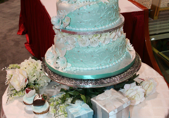 Blue is the new most popular color for wedding cakes, according to TheKnot.com, followed by purple and green.  Make sure to dazzle brides with unique color options, offering multiple shades of blues and other colors.