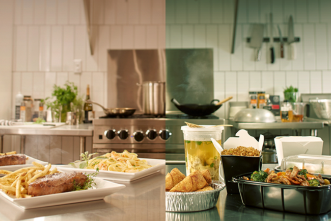 Foodservice kitchen before the pandemic and after the pandemic
