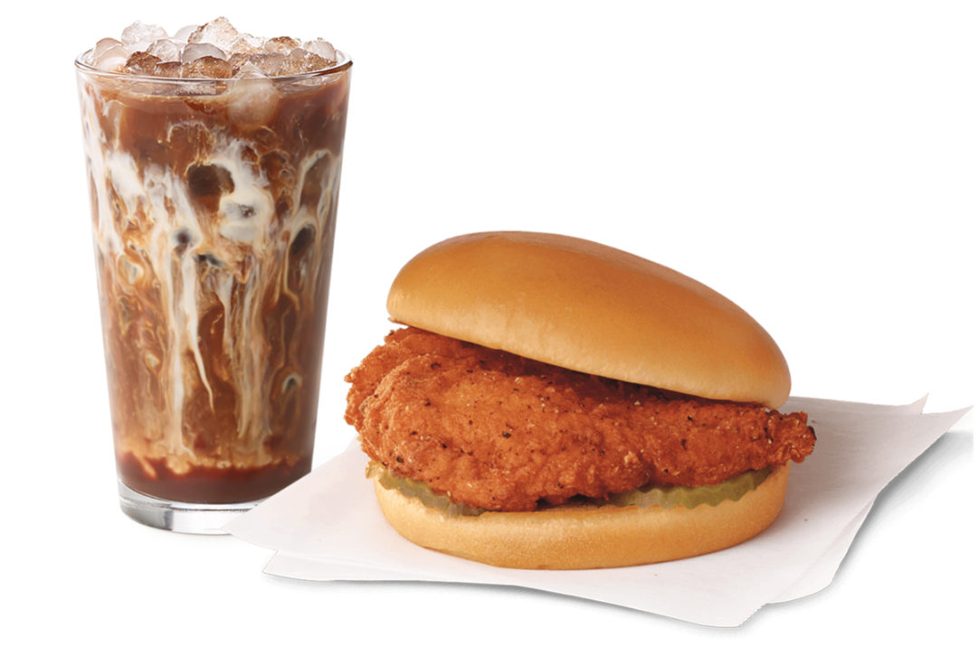 Chick-fil-A spicy chicken sandwich and cold-brew coffee