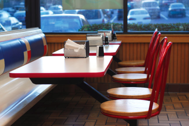 Empty fast food restaurant booth