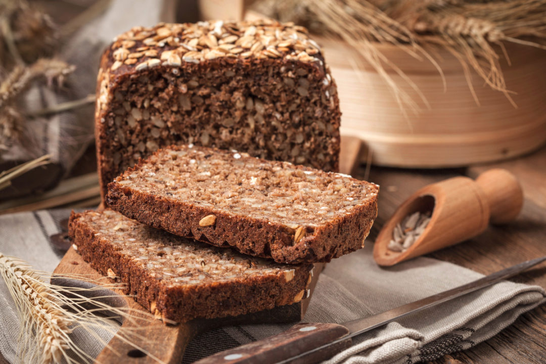 Whole grain rye bread with seeds