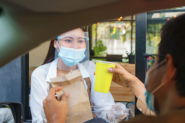 Getting food from a drive-thru during the COVID-19 pandemic