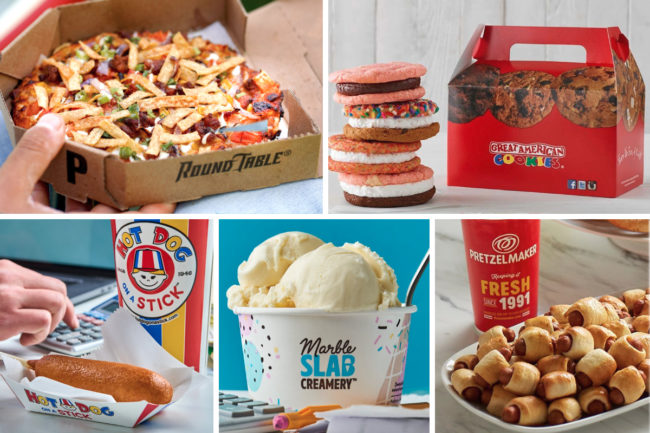 Global Franchise Group restaurants: Round Table Pizza, Great American Cookies, Hot Dog on a Stick, Marble Slab Creamery and Pretzelmaker