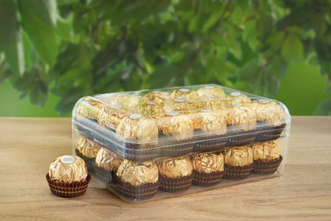 Recyclable eco-designed box for Ferrero Rocher chocolates