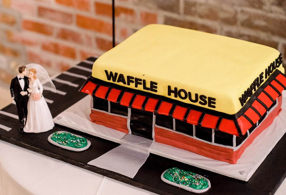 Marvelous New Orleans Bakery Creates Waffle House Themed Cake For Wedding Personalised Birthday Cards Sponlily Jamesorg